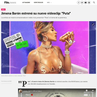 Jimena Barón estrenó su nuevo videoclip- -Puta- - Filo News