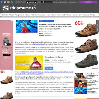 ArchiveBay.com - www.stiripesurse.ro/dana-chera-fosta-grecu-explica-de-ce-nu-se-mai-intoarce-la-antena-3-pauza-de-doi-ani-m-a-facut-s_1433251.html - Dana Chera, fostă Grecu, explică de ce nu se mai întoarce la Antena 3- 'Pauza de doi ani m-a făcut să văd lucrurile altfel