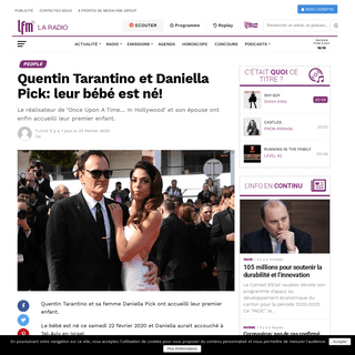 ArchiveBay.com - www.lfm.ch/lifestyle/cote-people/quentin-tarantino-et-daniella-pick-leur-bebe-est-ne/ - Quentin Tarantino et Daniella Pick- leur bébé est né! - Radio LFM