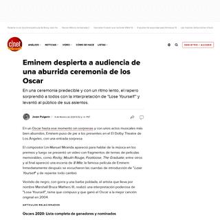 Eminem despierta a audiencia de una aburrida ceremonia de los Oscar - CNET en Español