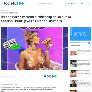 """ArchiveBay.com - infocielo.com/nota/115331/jimena-baron-estreno-el-videoclip-de-su-nueva-cancion-puta-y-ya-es-furor-en-las-redes/ - Jimena Barón estrenó el videoclip de su nueva canción """"Puta"""" y ya es furor en las redes - Infocielo"""