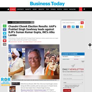 Chandni Chowk Election Results- AAP's Prahlad Singh Sawhney leads against BJP's Suman Kumar Gupta, INC's Alka Lamba