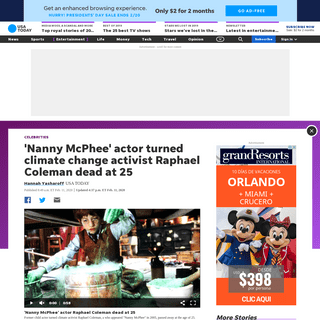 'Nanny McPhee' actor, climate activist Raphael Coleman dead at 25
