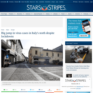 ArchiveBay.com - www.stripes.com/news/europe/italian-towns-on-lockdown-after-two-virus-deaths-1.619795 - Big jump in virus cases in Italy's north despite lockdowns - Europe - Stripes