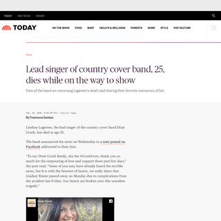 Lindsey Lagestee, lead singer of Dixie Crush, dies at 25