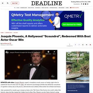Joaquin Phoenix Wins Oscar For Joker Performance – Deadline