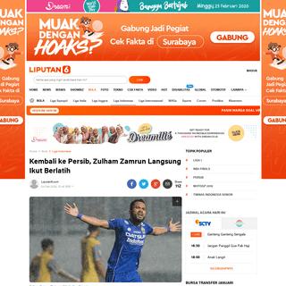 Kembali ke Persib, Zulham Zamrun Langsung Ikut Berlatih - Bola Liputan6.com