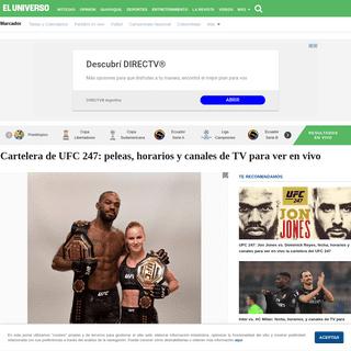 Cartelera de UFC 247- peleas, horarios y canales de TV para ver en vivo - Otros Deportes - Deportes - El Universo