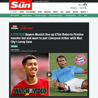 Bayern Munich line up £75m Roberto Firmino transfer bid and want to pair Liverpool striker with Man City's Leroy Sane – The
