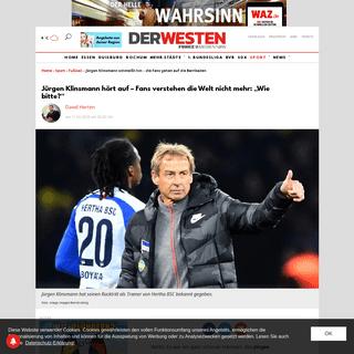 Jürgen Klinsmann schmeißt hin – die Fans gehen auf die Barrikaden - derwesten.de