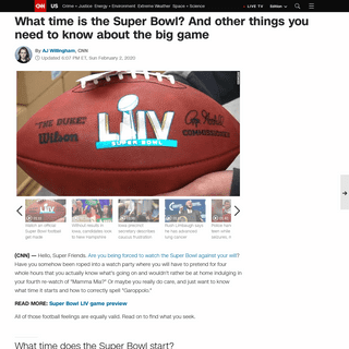 What time is the Super Bowl- And other things you need to know about the big game - CNN