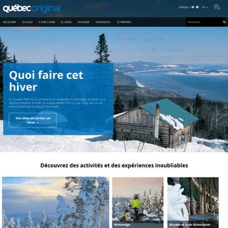 Tourisme et vacances au Québec, Canada - Site touristique officiel du gouvernement du Québec - QuébecOriginal