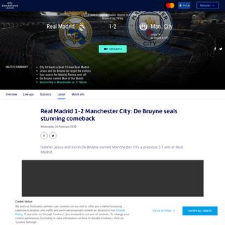 Real Madrid-Man. City - Real Madrid 1-2 Manchester City- De Bruyne seals stunning comeback - UEFA Champions League - UEFA.com