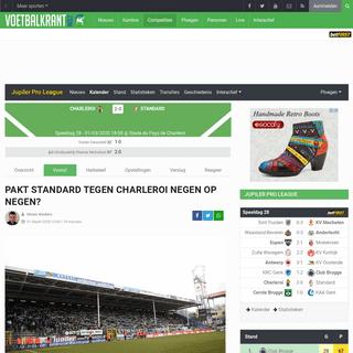 Charleroi ontvangt om 18u Standard - Voetbalkrant.com