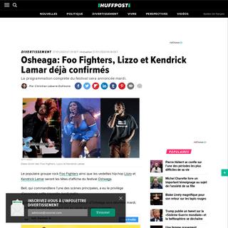 Osheaga- Foo Fighters, Lizzo et Kendrick Lamar déjà confirmés - HuffPost Québec