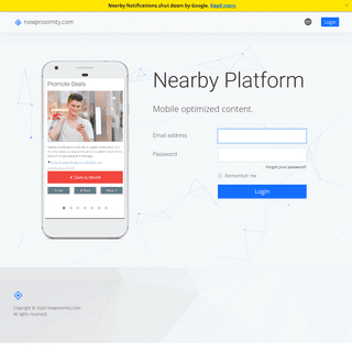 Nearby Platform - Login - nowproximity.com