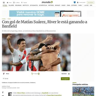 Con gol de Matías Suárez, River le está ganando a Banfield - Mundo D