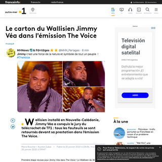Le carton du Wallisien Jimmy Véa dans l'émission The Voice - Outre-mer la