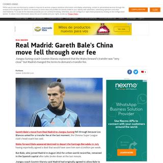 ArchiveBay.com - en.as.com/en/2020/02/22/football/1582370843_642532.html - Real Madrid - Real Madrid- Gareth Bale's China move fell through over fee - AS.com