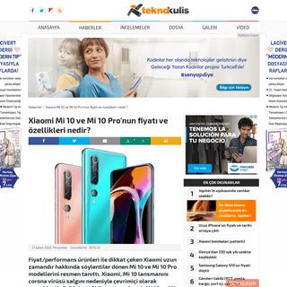 Xiaomi Mi 10 ve Mi 10 Pro'nun fiyatı ve özellikleri nedir- - Haberler - Teknokulis
