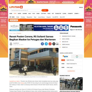 Rawat Pasien Corona, RS Sulianti Saroso Bagikan Masker ke Petugas dan Wartawan - News Liputan6.com
