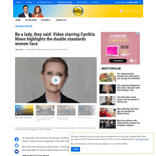 Be a lady, they said- Video starring Cynthia Nixon highlights the double standards women face - The Daily Edition