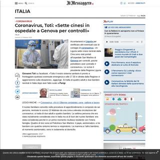 Coronavirus, Toti- «Sette cinesi in ospedale a Genova per controlli»