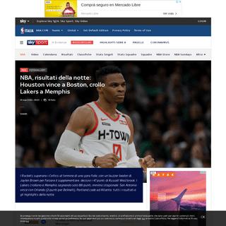 NBA, risultati della notte- Houston vince a Boston, crollo Lakers a Memphis - Sky Sport