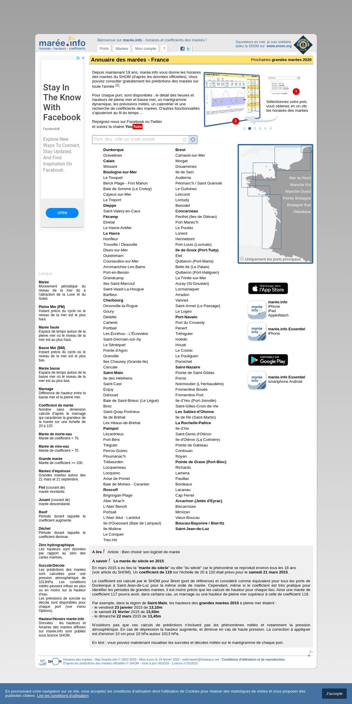 maree.info - Annuaire des marées - horaire, hauteur, coefficient de marée en Atlantique Manche Mer du Nord