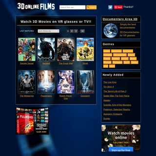 3D online Films- Watch 3D Movies on Virtual Reality Glasses or TV