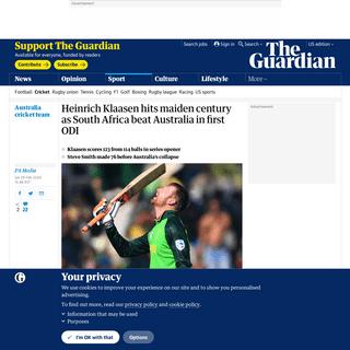 Heinrich Klaasen hits maiden century as South Africa beat Australia in first ODI - Sport - The Guardian