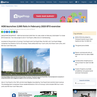 ArchiveBay.com - www.edgeprop.sg/property-news/hdb-launches-3095-flats-february-2020-bto-exercise - HDB launches 3,095 flats in February 2020 BTO exercise - Singapore Property News