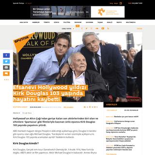 Efsanevi Hollywood yıldızı Kirk Douglas 103 yaşında hayatını kaybetti - Sputnik Türkiye