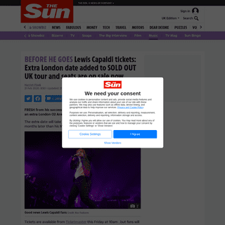 ArchiveBay.com - www.thesun.co.uk/tvandshowbiz/10995290/lewis-capaldi-tickets-2020/ - Lewis Capaldi 2020 UK tour tickets- Extra London date added to SOLD OUT arena tour