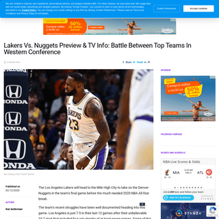 Lakers Vs. Nuggets Preview & TV Info- Battle Between Top Teams In Western Conference