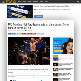 UFC Auckland- Kai Kara-Franceputs on clinic against Tyson Nam on way to UD win – Fight News Australia