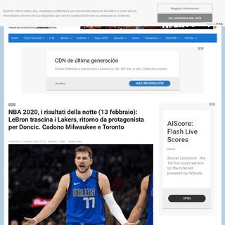 NBA 2020, i risultati della notte (13 febbraio)- LeBron trascina i Lakers, ritorno da protagonista per Doncic. Cadono Milwaukee
