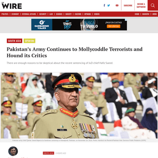 Pakistan's Army Continues to Mollycoddle Terrorists and Hound its Critics
