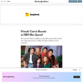 'Friends' Cast to Reunite in HBO Max Special - The New York Times