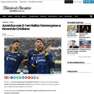Juventus cae 2-1 en Hellas Verona pese a récord de Cristiano