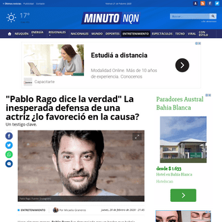 -Pablo Rago dice la verdad- La inesperada defensa de una actriz ¿lo favoreció en la causa- - Minuto Neuquen