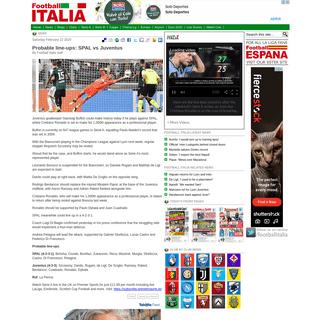 Probable line-ups- SPAL vs Juventus - Football Italia