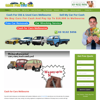 Cash For Old Car - We pay Upto $18,999 and Free Removal