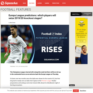 ArchiveBay.com - www.squawka.com/en/europa-league-predictions-2019-20-knock-out-stages/ - Europa League predictions- Which players will be 2019-20 season heroes-