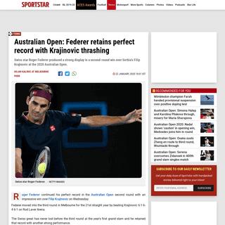 Australian Open 2020- Roger Federer beats Filip Krajinovic - Sportstar