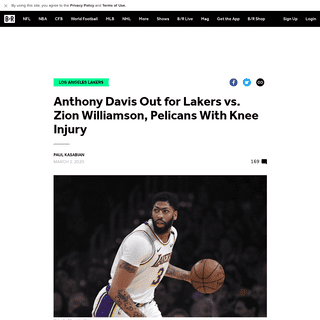 Anthony Davis Out for Lakers vs. Zion Williamson, Pelicans With Knee Injury - Bleacher Report - Latest News, Videos and Highligh