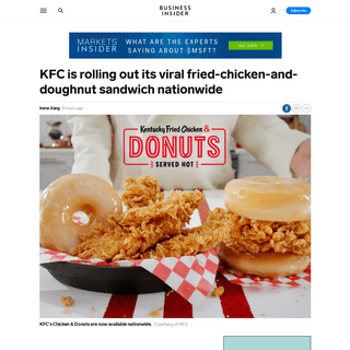 KFC Chicken and Donuts sandwich, basket roll out nationwide - Business Insider