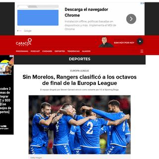 Sin Morelos, Rangers clasificó a los octavos de final de la Europa League - Deportes - Caracol Radio