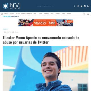 El actor Memo Aponte es nuevamente acusado de abuso por usuarias de Twitter - nvinoticias.com