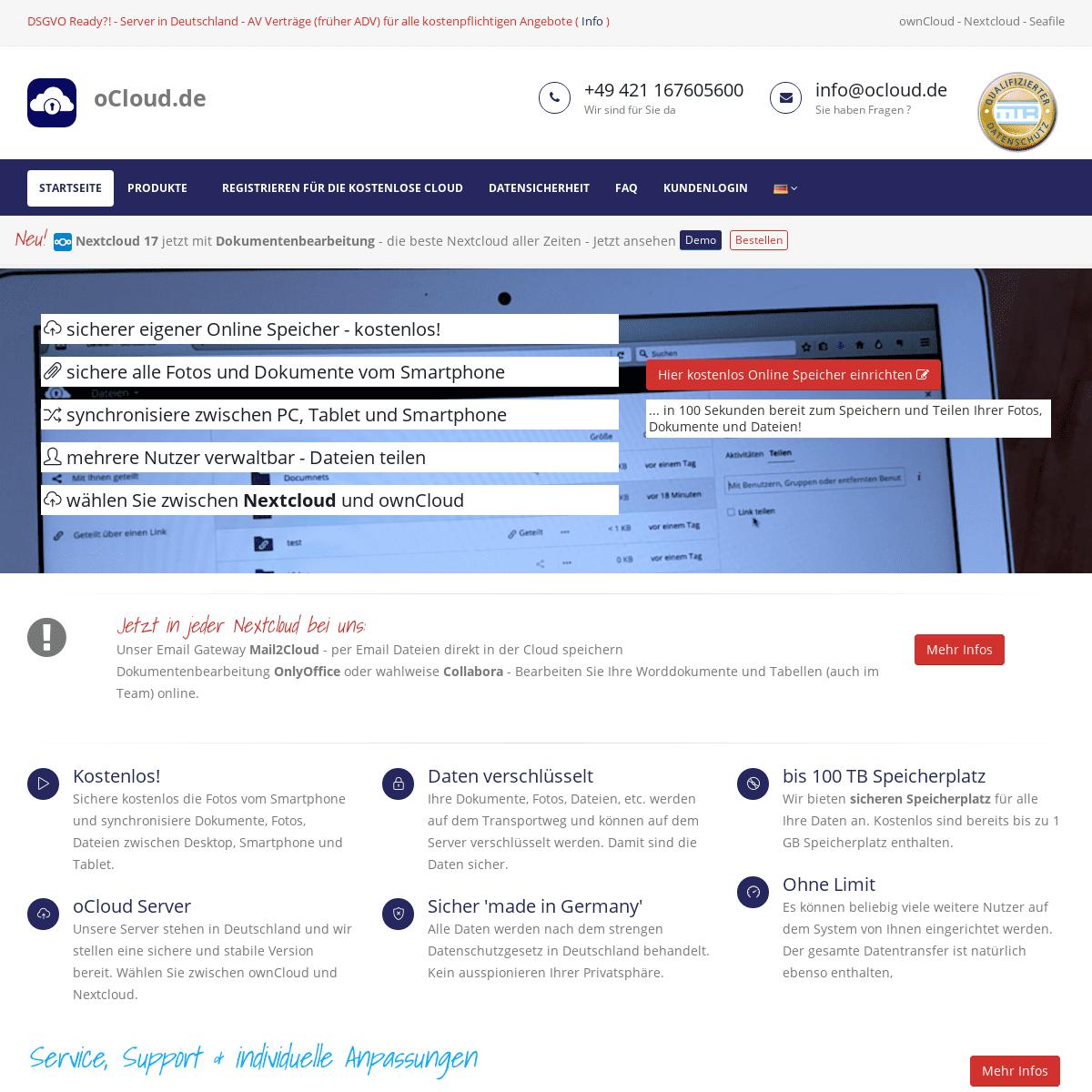 ownCloud - Nextcloud - oCloud - Dateien sicher und verschlüsselt in der Cloud